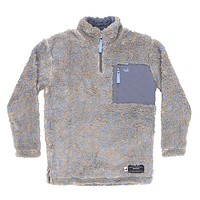 Youth Blue Ridge Sherpa Pullover in Brown and French Blue by Southern Marsh