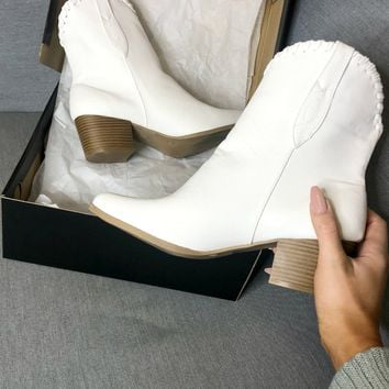 My Favorite White Western Ankle Boot