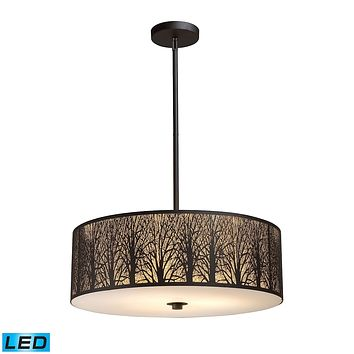 Woodland Sunrise 5-Light Chandelier in Aged Bronze with Woodland Shade - Includes LED Bulbs