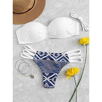 Lace Overlay Top With Geometric Ladder Cut Out Bikini
