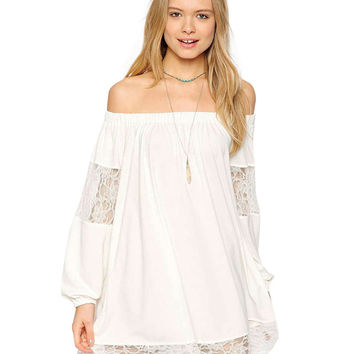 White Flared Long Sleeve Off-Shoulder Mini Dress with Sheer Lace Detail