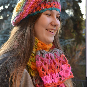 Set beanie,scarf, lovely and  warm,multicolor,autumn and winter accessories,winter is coming,crocheted