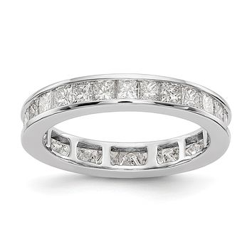 2ct Channel Set Princess Cut Diamond Eternity Wedding Band Ring 14k White Gold