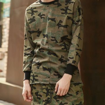 Shoulder camouflage T-shirt with long ribbon and camouflage sleeve undercut before and after side opening [4197531418660]