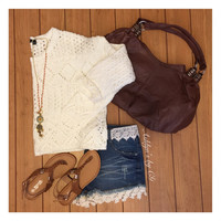 Must Have Open Knit Ivory Cropped Half Sweater