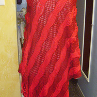 SALE Red Sweater Poncho with Fringe womans clothing