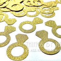 50 Gold Ring Die Cut, Gold Engagement Ring, Gold Wedding Ring Confetti,  Gold Bridal Shower Decor (1.5x1 inch)