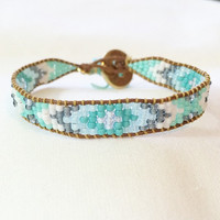 Grey Mint Turquoise White Beaded Loom Bead Friendship Bracelet with Signature Gold Plated Button Adjustable with Handmade Tassel