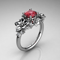 Nature Inspired 14K White Gold 1.0 Ct Ruby Diamond Leaf Vine Unique Floral Engagement Ring R1026-14KWGDR
