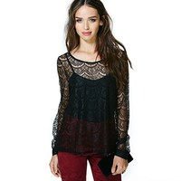 Benana Fashion Sexy Rounder Collar Front Back Asymmetrical Hem Long Sleeve Lace Two-pieces Women Shirt - DinoDirect.com