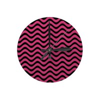 Cabaret Red Fuchsia And Black Waves Patterns Round Wallclock from Zazzle.com