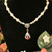 Elegant & Feminine - Pink and White Pearl Necklace with Pink Crystal Pendant
