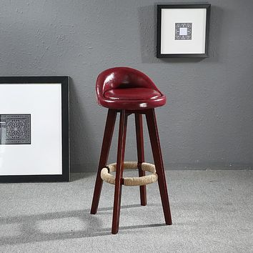 Glossy Leather Finished Stylish Bar Chair
