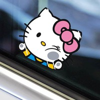 Funny Car Sticker and Decals Hello Kitty Hit on The Glass Cute Styling Car Accessories Kitty Series Decals