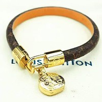 LV Louis vuitton Fashion new monogram leather personality women bracelet accessory