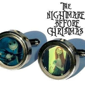 Nightmare Before Christmas Jack and Sally Cuff Links silver stainless steel