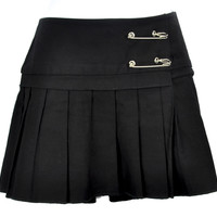 Vintage Serious Black Pleated Mini Skirt With Safety Pins Medium