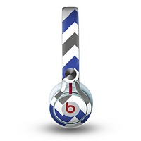 The Gray & Navy Blue Chevron Skin for the Beats by Dre Mixr Headphones