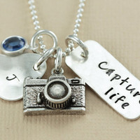 Capture Life Personalized Hand Stamped Necklace - Custom Birthstone Necklaces - Inspirational Jewelry - Capture Life Camera Necklace