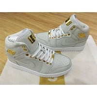 Air Jordan 1 Pinnacle 24K White Gold Shoes 40-47