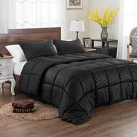 3PC REVERSIBLE SOLID/ EMBOSS STRIPED COMFORTER SET- OVERSIZED AND OVERFILLED ( 2 BEDDING LOOKS IN 1) - BLACK