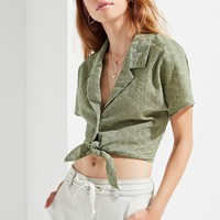 UO Tie-Front Eyelet Shirt | Urban Outfitters