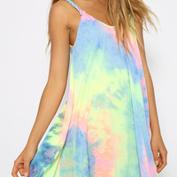 Rainbow Tie Dye Weave Spaghetti Strap Pleated Mini Shift Dress