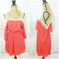 SPRING PICNIC OFF THE SHOULDER DRESS IN CORAL