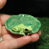 Frog Cute tiny ring dish handmade pottery
