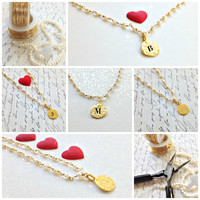 Natural pearl and 18k gold disk personalized charm wire wrapped necklace. valentines gift.