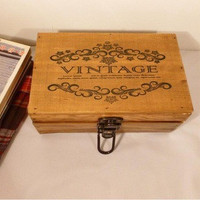 Home Decor Wooden Weathered Box Storage Accessory Lock [6282883462]