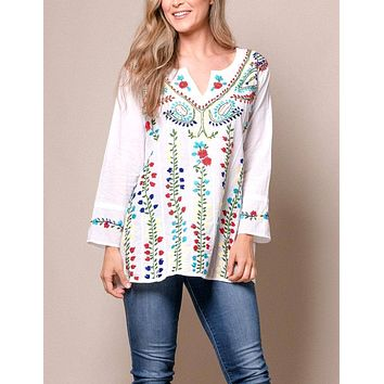 Indrani Embroidered Tunic - Turquoise - As-Is-Clearance - Large Only
