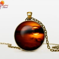 Full Moon Necklace Moon Pendant Galaxy  Space  Orange Yellow Red Moon  Jewelry Necklace for men  Art Gifts for Her(P11H01V03)