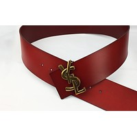 YSL Tide brand women's retro fashion wild smooth buckle belt Red