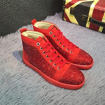 Cl Christian Louboutin Louis Strass Bling Blin Red Men's Women Flat Shoes Boots