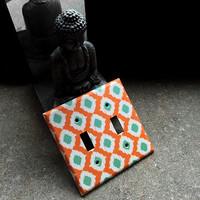 Double light switchplate - Decorative orange, white and mint green switch plate cover - Triangles, modern, home decor, southwestern