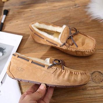 UGG Moccasin-Gommino Women Fashion Fur Tassels Flats Shoes