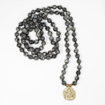 Larvikite Hand Knotted Mala Necklace with Ganesh 'Success' Pendant