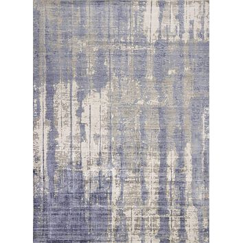 Blue and Grey Rug - 9' x 13' Viscose Grey/Blue Area Rug