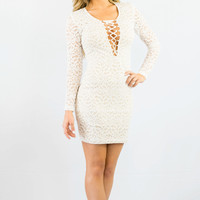 WYLDR In Too Deep Ivory Lace Bodycon Dress White