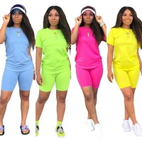 2 Piece Set Women Tracksuit Festival Clothing Crop Top and Biker Shorts Sexy Club Outfits Two Piece Matching Sets