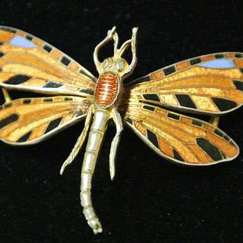 Early Coro Trembler Brooch Enameled Dragonfly Art Deco Nouveau Brooch 1920s Enamel Paint Designer Jewelry Rare Piece Collectible Trembler