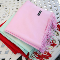 2016 winter style fashion brand warm women lady Scarves cashmere luxury Pashmina classic Fringed scarf for women pink red grey