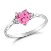 Heart Shaped Simulated Pink Sapphire Silver Ring Size 4