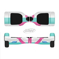 The Teal Striped Pink Anchor Full-Body Skin Set for the Smart Drifting SuperCharged iiRov HoverBoard
