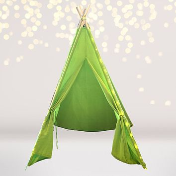 Lime Green Tee Pee Tent Play House with Lights, Teepee for Kids