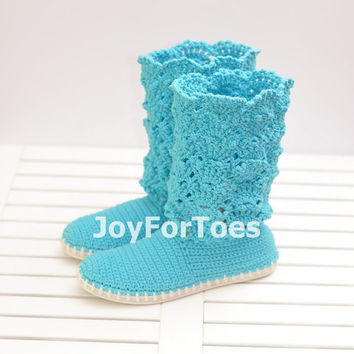 Lace Crochet Boots for the Street Outdoor Shoes Boots Made to Order Blue Cotton Candy