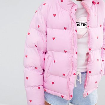 Lazy Oaf Short Padded Jacket With All Over Heart Print