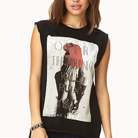 FOREVER 21 Statement-Making Oversized Tee Black/Red Large