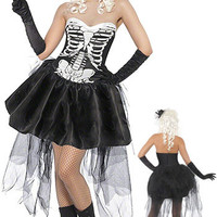 Strapless Skeleton Print Halloween Witch Mini Skater Dress Costume Set